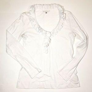CAbi Women Cotton Shirt Crinkled Ruffle Top Medium